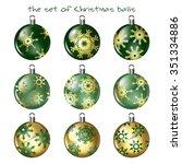 set balls on a christmas tree | Shutterstock .eps vector #351334886