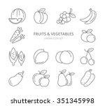 fruits and vegetables linear... | Shutterstock . vector #351345998