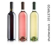bottles with variety of wines ... | Shutterstock . vector #351378920