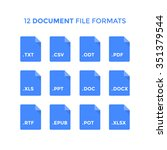 flat document file type icons.... | Shutterstock .eps vector #351379544