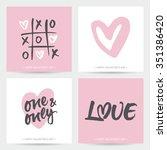 set of love cards for valentine'... | Shutterstock .eps vector #351386420