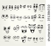 emoticon doodles set. vector... | Shutterstock .eps vector #351386510