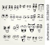 emoticon doodles set. vector... | Shutterstock .eps vector #351386510