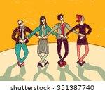 business team dance... | Shutterstock .eps vector #351387740