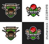 set of  cricket sports logos ... | Shutterstock .eps vector #351389498