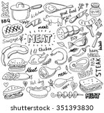 vector hand drawn meat elements ... | Shutterstock .eps vector #351393830