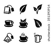 vector black tea icon on white... | Shutterstock .eps vector #351393914