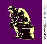 sitting pondering philosopher... | Shutterstock .eps vector #351412718