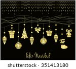 feliz navidad card. vector... | Shutterstock .eps vector #351413180