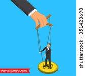 businessman puppet on ropes.... | Shutterstock .eps vector #351423698