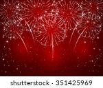 Sparkling Fireworks On Red...