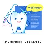 cute healthy white shiny tooth... | Shutterstock .eps vector #351427556
