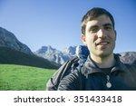 hiker man taking a selfie... | Shutterstock . vector #351433418