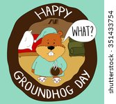 a groundhog in its hole asking... | Shutterstock .eps vector #351433754