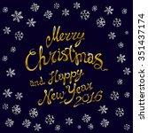 golden glowing merry christmas... | Shutterstock . vector #351437174
