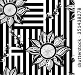 black white flowers seamless... | Shutterstock .eps vector #351438278