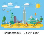 happy family riding bicycle in... | Shutterstock .eps vector #351441554
