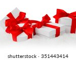 photo of santa boot  cap and... | Shutterstock . vector #351443414