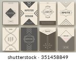 set of brochures in hipster... | Shutterstock .eps vector #351458849