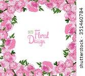 spring floral frame. pink ... | Shutterstock .eps vector #351460784