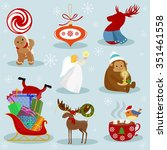 christmas and new year holiday... | Shutterstock .eps vector #351461558