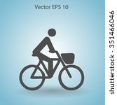 flat cyclist icon | Shutterstock .eps vector #351466046