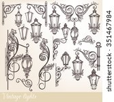 collection or set of vintage... | Shutterstock .eps vector #351467984