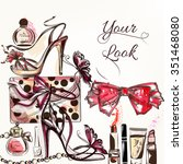 fashion vector background with... | Shutterstock .eps vector #351468080
