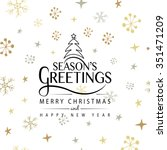 hand sketched seasons greetings ... | Shutterstock .eps vector #351471209