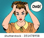 omg the woman in shock pop art... | Shutterstock .eps vector #351478958