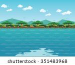 Forest Lake Background With...