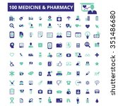 medicine and pharmacy icons ... | Shutterstock .eps vector #351486680