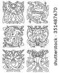 celtic animal knot ornaments of ... | Shutterstock .eps vector #351487670