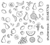 fruits and berries sketched... | Shutterstock .eps vector #351487763