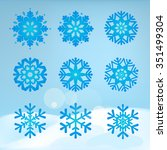 collection of snowflakes on a... | Shutterstock .eps vector #351499304