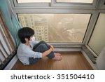 mask wearing boy looking... | Shutterstock . vector #351504410