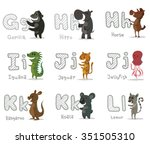 set of cartoon animals with... | Shutterstock .eps vector #351505310