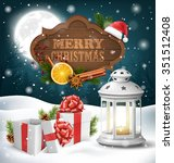 christmas lantern with gift... | Shutterstock .eps vector #351512408
