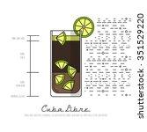 cuba libre   thin flat line... | Shutterstock .eps vector #351529220