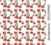 tulips seamless pattern   Shutterstock . vector #351529943