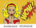 pop art surprised blond woman... | Shutterstock .eps vector #351542618