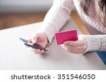close up of a woman holding a... | Shutterstock . vector #351546050