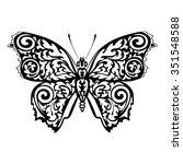 black silhouette of butterfly... | Shutterstock .eps vector #351548588