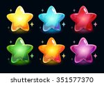 cartoon colorful glossy stars...