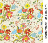 floral seamless pattern with... | Shutterstock .eps vector #351580574