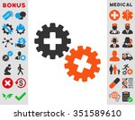 medical gears vector icon.... | Shutterstock .eps vector #351589610