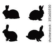 Rabbits Silhouette  Vector...
