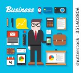 trendy business flat icons... | Shutterstock . vector #351603806