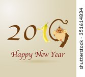 new year's card with a monkey.... | Shutterstock .eps vector #351614834