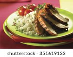barbecued chicken with rice ...